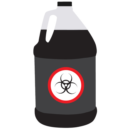 corrosive poison: Vector illustration bottle with biohazard symbol. Toxic symbol, biochemical. Plastic container with black liquid