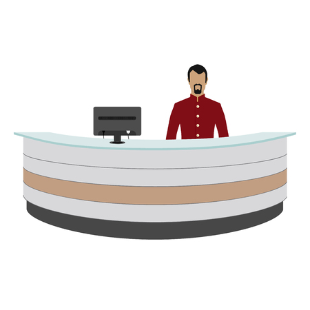 hotel reception: Vector illustration happy male receptionist standing at hotel. Professional concierge at hotel reception desk