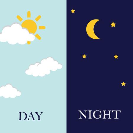 Vector illustratie van dag en nacht. Dag nacht concept, zon en maan, dag nacht pictogram