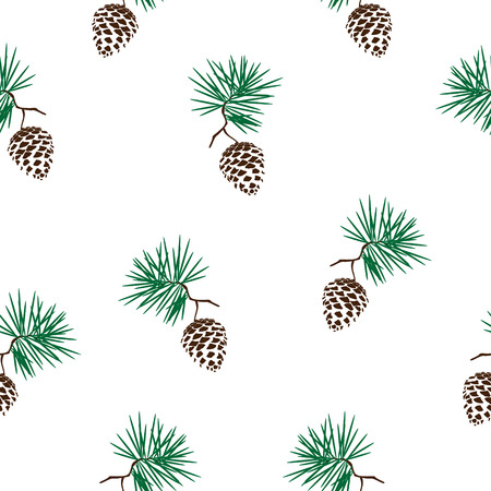 pinecone: Vector illustration seamless pattern with pinecone branch . Pine cone wood nature Illustration