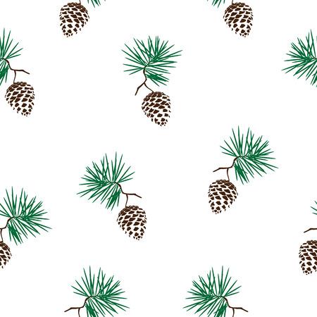 Vector illustration seamless pinecone branche. cône de pin bois nature