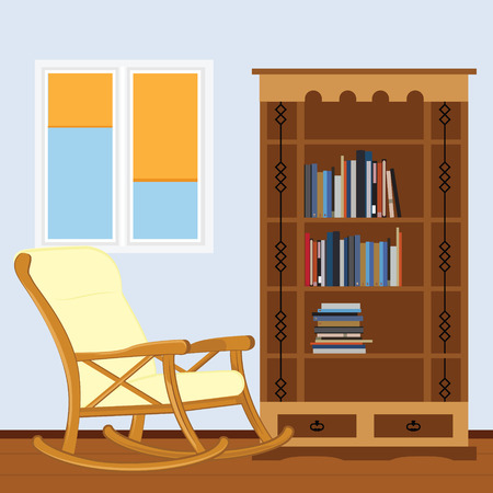 Reading room with rocking chair, bookcase with books and window vector illustration. I love reading. Study room