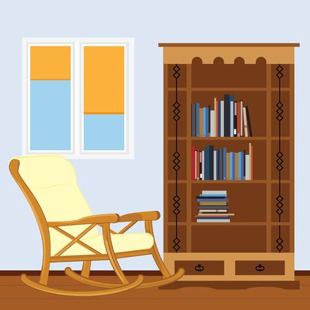 Salle de lecture avec chaise berçante, bibliothèque avec livres et fenêtre illustration vectorielle. J'adore lire. Salle d'étude