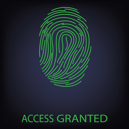 granted: Vector illustration green fingerprint scanning. Access Granted. Finger print