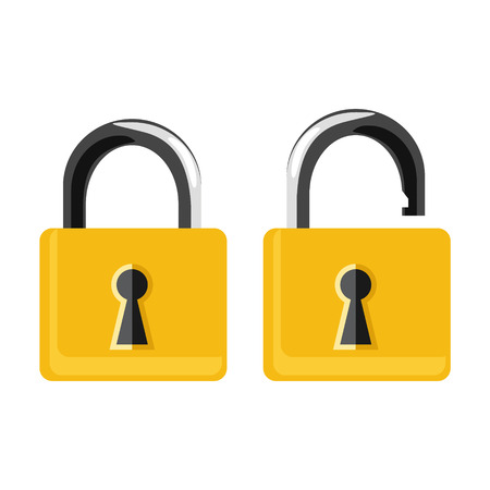 Vector illustration opened and closed golden locks on white background. Lock icon set, collection. Padlock Illustration