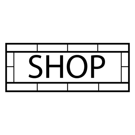 shopsign: Vector illustration modern shop sign. Signboard design template. Shop, store sign icon Illustration