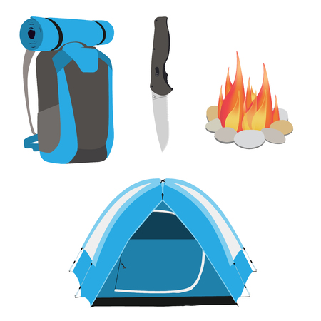 rucksack: Camping equipment blue camping tent, campfire with stones, travel backpack and exploration hat, knife vector illustration. Camping gear icon set Illustration