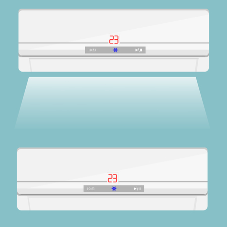 acclimatization: Vector illustration realistic air conditioner isolated on blue background. Air conditioner icon. Air conditioner on the wall Illustration