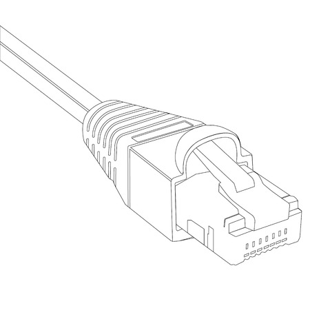 Vector illustration outline drawing ethernet network cable. Cable icon. Ethernet connector for mobile apps, web sites Illustration