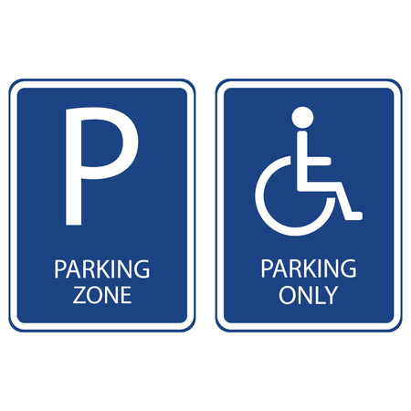 handicap sign: Vector illustration blue handicap car parking or wheelchair parking space sign. Blue car parking zone sign. Parking space. Blue roadsign with letter P on rectangular plate
