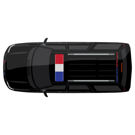 police lights: Vector illustration top view of a police car with bright police lights Illustration