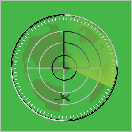 Vector illustration of green radar screen with airplane symbol. Radar icon Illustration
