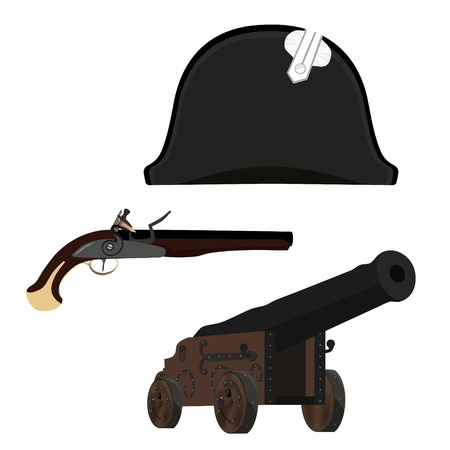 Vector illustration black Napoleon Bonaparte hat, old cannon and flintlock musket gun. General bicorne hat