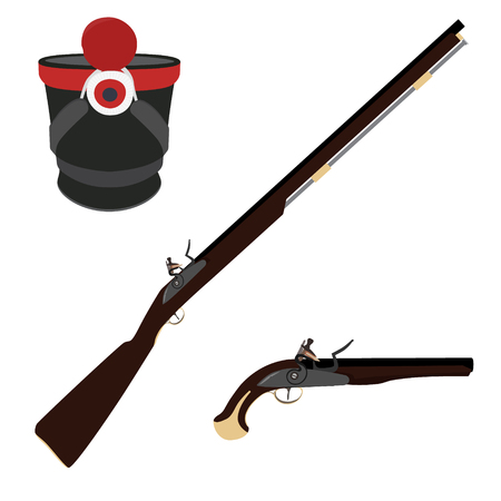 infantry: Vector illustration of old fashioned rifles, military hat  and vintage musket gun. Muskets or flintlock gun. Infantry shako