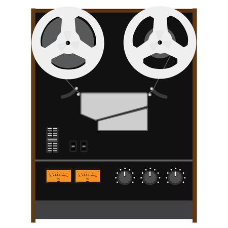 hifi: Vector illustration Hi-Fi analog stereo reel to reel tape recorder deck with UV meter