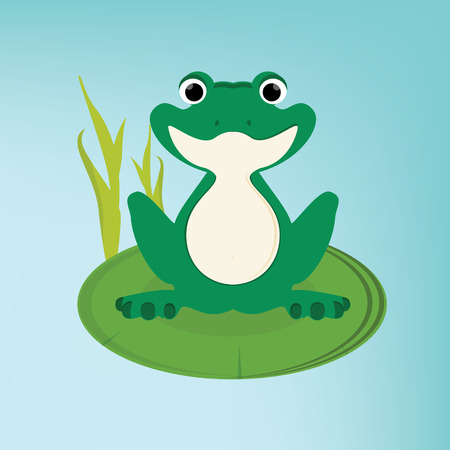 Raster illustration green, cute frog sitting on the water lily leaf in lake Stock Photo