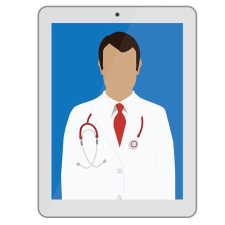 doctor tablet: Raster illustration professional doctor in white medical uniform with red tie and with stethoscope on tablet monitor