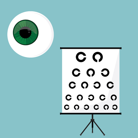 oculist: Raster illustration optical ophthalmology icons set, symbols. Eyeball, and eye test