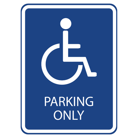 handicap sign: Raster illustration blue handicap car parking or wheelchair parking space sign.