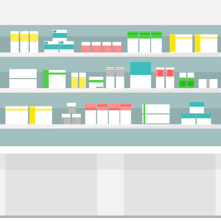 with liquids: Raster illustration pharmacy shelves with medicine pills bottles liquids and capsules. Various Pills and Drugs For Sale Display on Pharmacy Shelves.