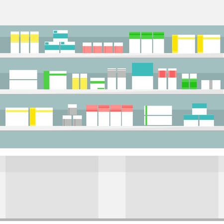 goteros: Raster ilustración estanterías de farmacia medicina píldoras con botellas de líquidos y cápsulas. Varias pastillas y medicamentos para la Visualización de la venta en las farmacias. Foto de archivo
