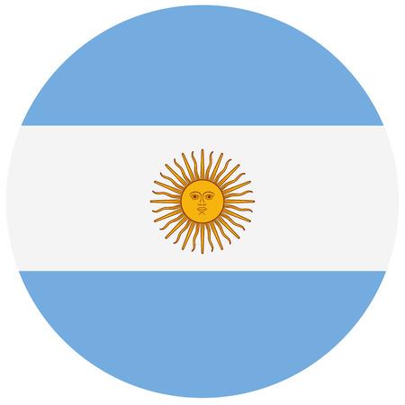proportional: Round Argentina flag raster icon. Argentina flag button