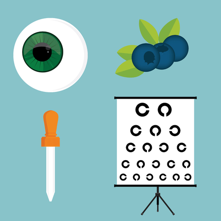 Raster illustration optical ophthalmology icons set, symbols. Eyeball, eye dropper, blueberry and eye test Stock Photo