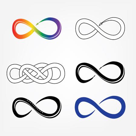 eternally: Raster illustration infinity symbols, sign icon set. Limitless symbol, icon