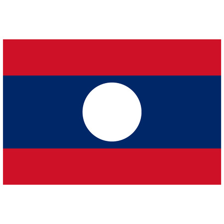 lao: Raster illustration rectangle flag of Laos country. Lao flag. Button or badge