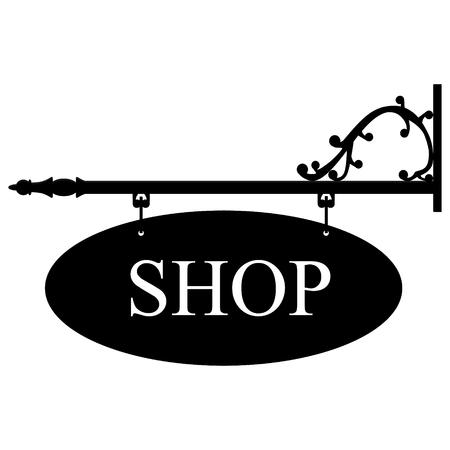 shop sign: Raster illustration vintage, old shop sign. Signage shop sign route hanging information banner retailer.