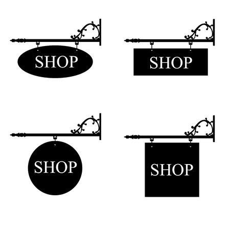 retailer: Raster illustration set of vintage, old shop signs. Signage shop sign route hanging information banner retailer.