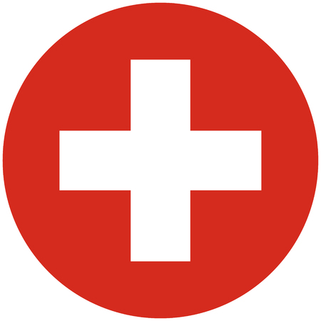 swiss flag: Raster illustration round flag of Switzerland country. Swiss flag. Button or badge Stock Photo