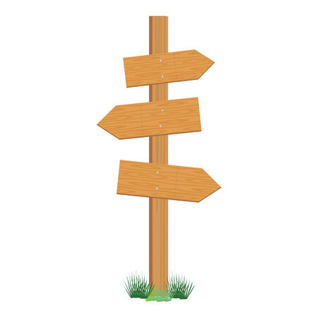 wooden post: Raster illustration of wooden sign post. Empty direction post