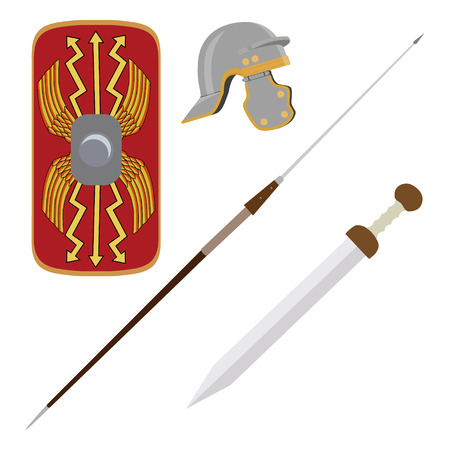 Vector illustration roman empire legionary shield, spade, helmet and gladius roman ancient weapon Illustration