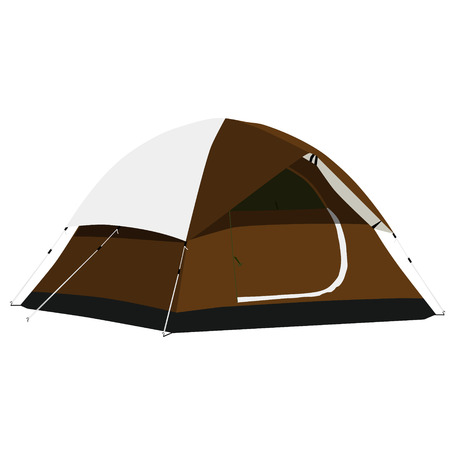 camping equipment: Brown camping tent vector illustration. Camping equipment, camping gear, camping icon