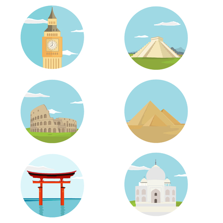 World landmarks flat icon set. Vector travel app web site monument sign. Egypt pyramid, Colosseum, Big Ben and Chichen itza. Torii gate and Taj Mahal
