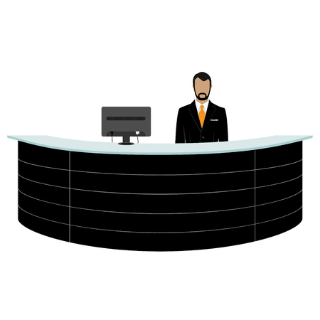 business service: Vector illustration happy male receptionist standing at hotel. Professional concierge at hotel reception desk