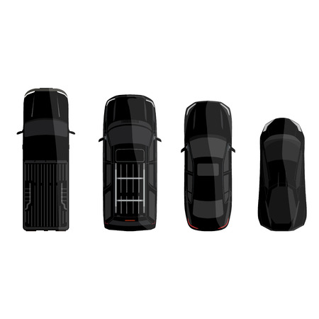 offroad car: Vector illustration set of four black cars top view. Sport car, pick up truck, sedan and offroad car Illustration
