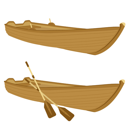 Vector illustration wooden boat with paddles, oars isolated on white background.