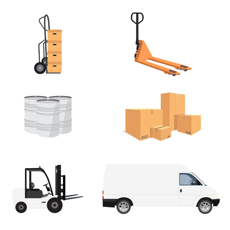 consignment: Delivery service icon set. Vector illustration pile of cardboard boxes. Hand truck and loader. Delivery transport mini van. Pallet jack. Barrels Illustration