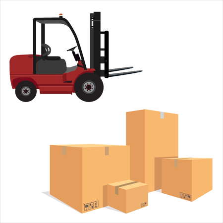 isoated: Vector illustration pile of cardboard boxes isolated on a white background. Loader car for carton box delivering. Delivery service icon