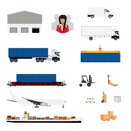 jack plane: Vector illustration freight transportation and delivery logistics flat icons set.