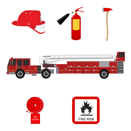 burnable: Icon set of firefighting equipment vector illustration isolated on white background