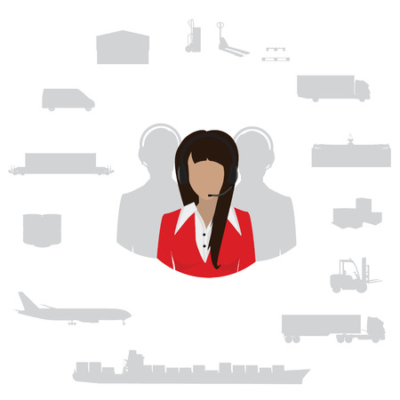 freight transportation: Vector illustration freight transportation and delivery logistics flat icons set.