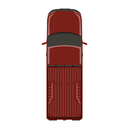 transference: Vector illustration red pick up car, truck top view. Illustration