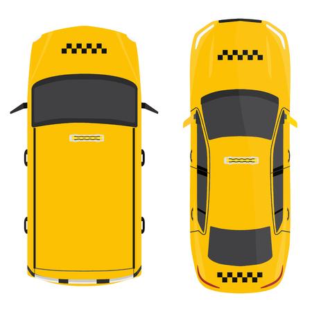 ilustración vectorial de taxi amarillo Opinión superior del coche. El transporte público de taxis empresa