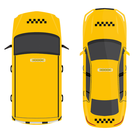 Vector illustratie gele taxi auto bovenaanzicht. Openbaar vervoer bedrijf taxicab