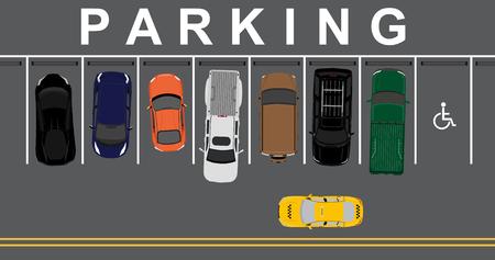 zones: Vector illustration top view parking lot concept. Sport car, pick up car, sedan car and offroad car. Parking zones. Car park