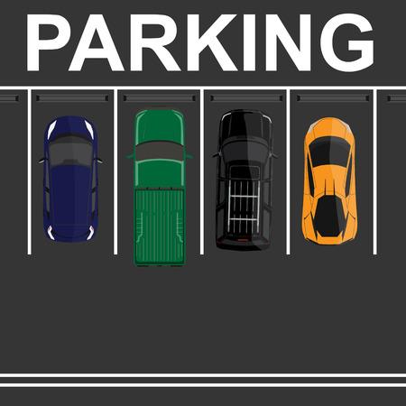 offroad car: Vector illustration top view parking lot concept. Orange sport car, green pick up, blue sedan car and black offroad car. Parking zones. Car park