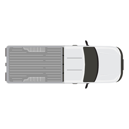 transference: Vector illustration white pick up car, truck top view. Illustration
